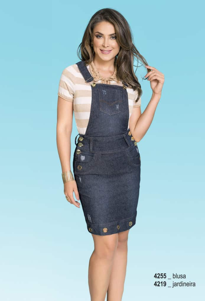 saia jardineira evangelica jeans com ilhós - rowan moda evangelica